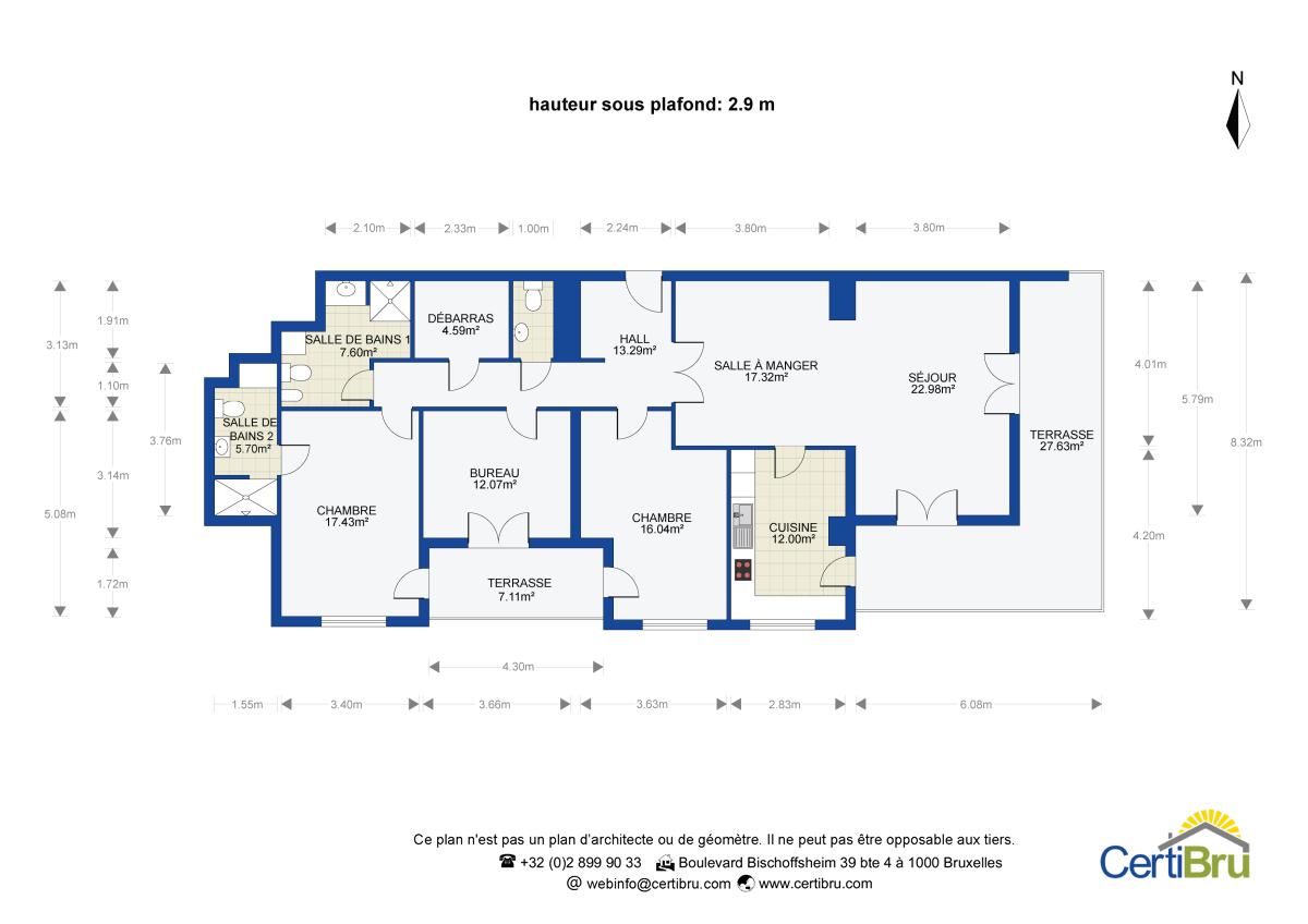 Plan 2D et 3D : annonce immobilière ou descriptif. CertiBru