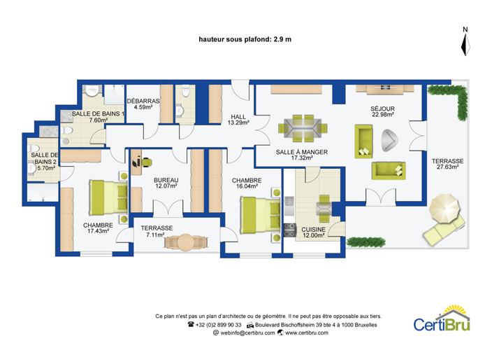 exemple 2D plan with surfaces and furnitures