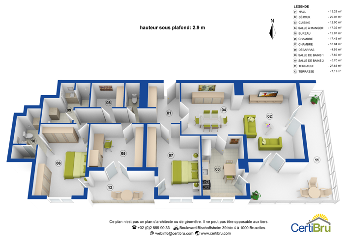 exemple 3D plan with surfaces and furnitures